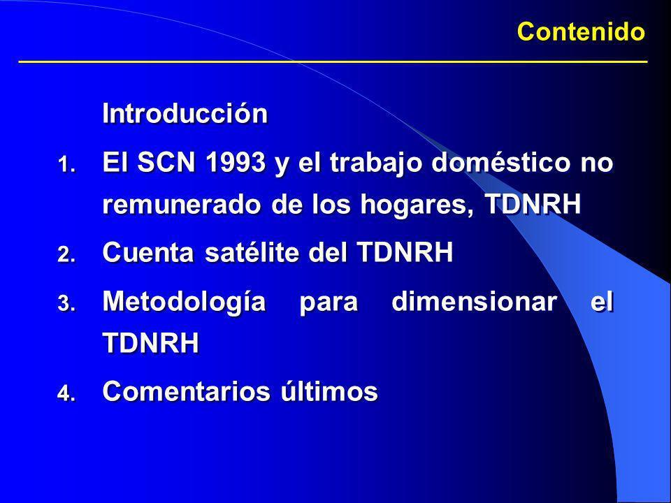 El SCN 1993 y el trabajo doméstico no remunerado de los hogares, TDNRH