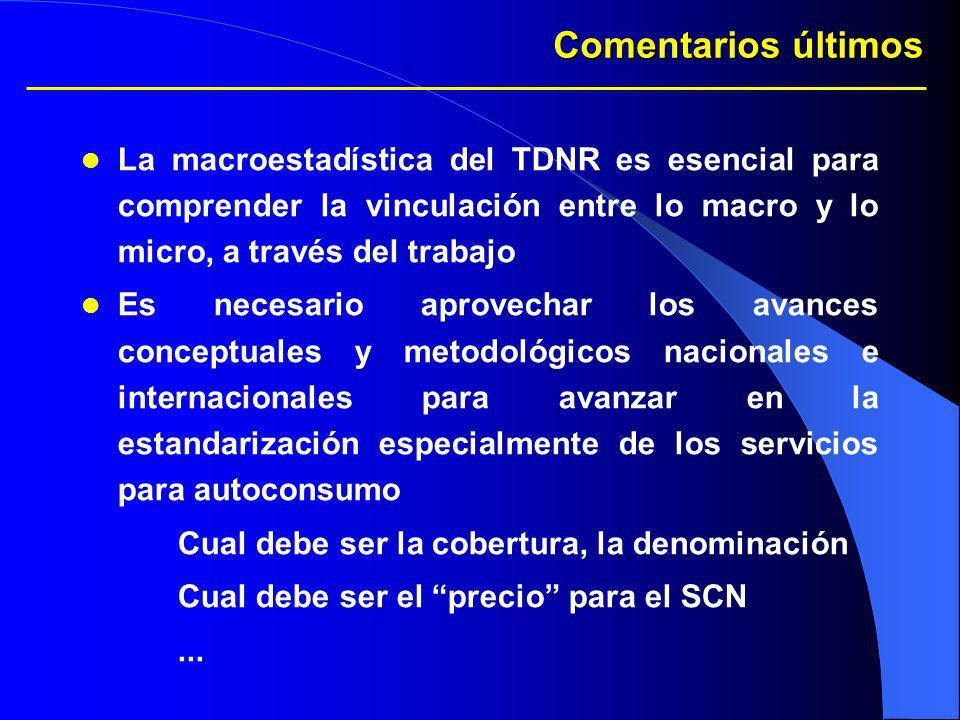Comentarios últimos La macroestadística del TDNR es esencial para comprender la vinculación entre lo macro y lo micro, a través del trabajo.
