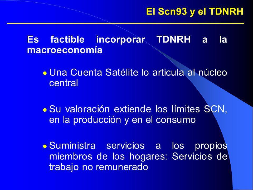 El Scn93 y el TDNRH Es factible incorporar TDNRH a la macroeconomía. Una Cuenta Satélite lo articula al núcleo central.