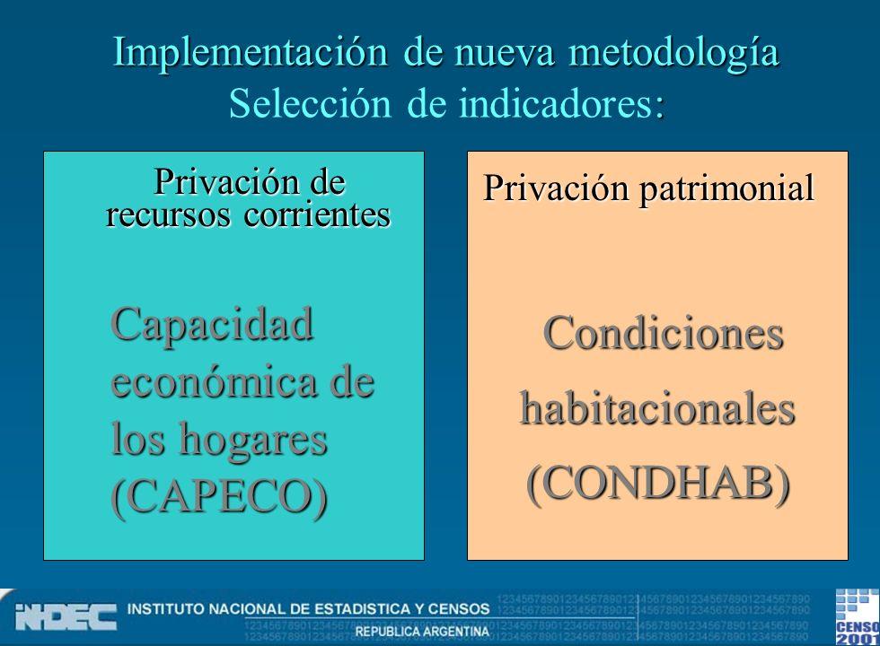 Implementación de nueva metodología Selección de indicadores: