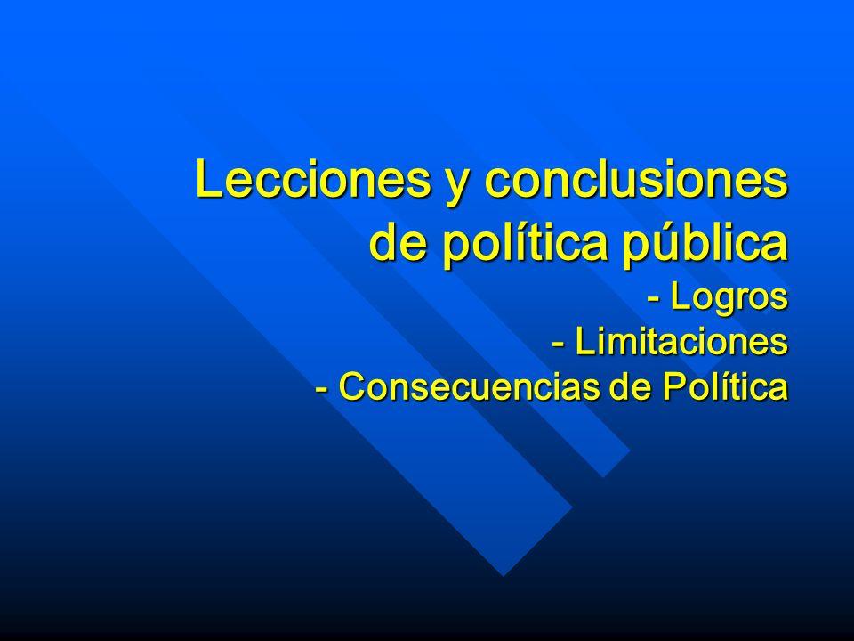 Lecciones y conclusiones de política pública - Logros - Limitaciones - Consecuencias de Política