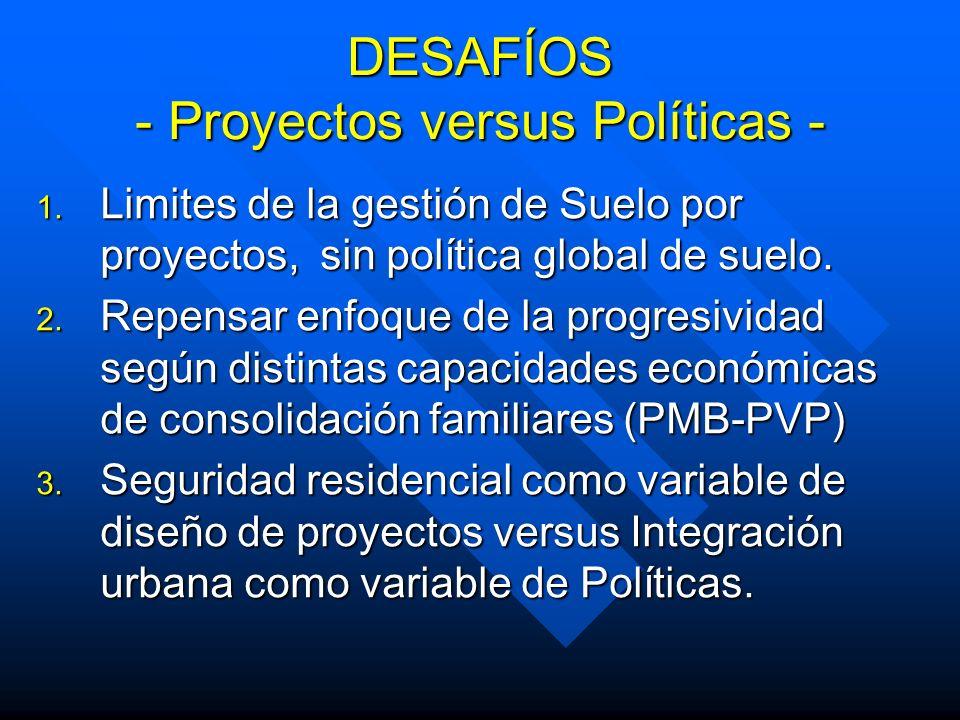 DESAFÍOS - Proyectos versus Políticas -