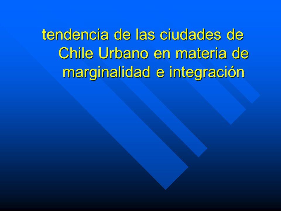 tendencia de las ciudades de Chile Urbano en materia de marginalidad e integración