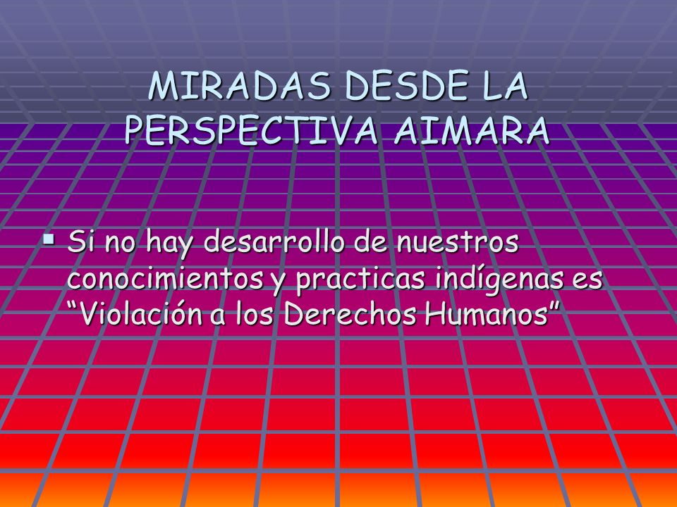 MIRADAS DESDE LA PERSPECTIVA AIMARA