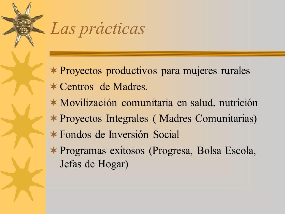 Las prácticas Proyectos productivos para mujeres rurales