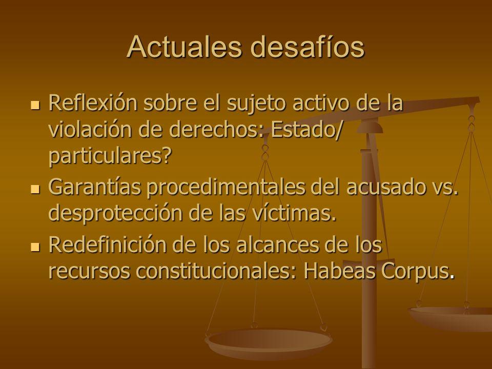 Actuales desafíos Reflexión sobre el sujeto activo de la violación de derechos: Estado/ particulares