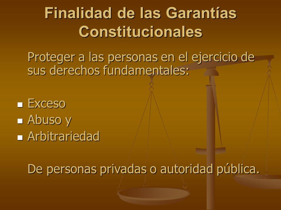 Finalidad de las Garantías Constitucionales