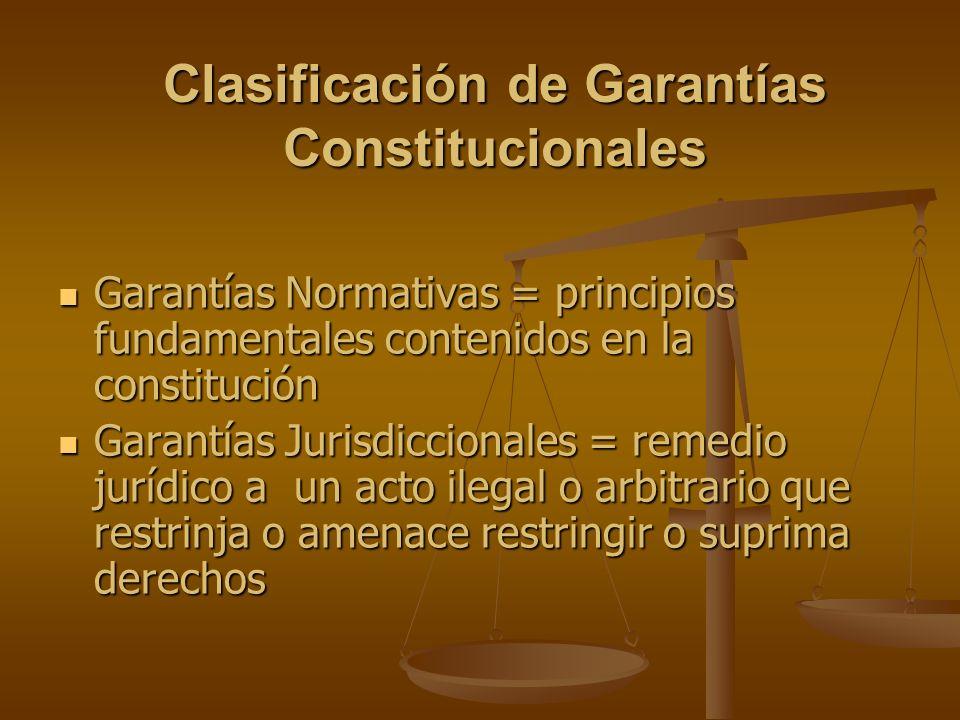 Clasificación de Garantías Constitucionales