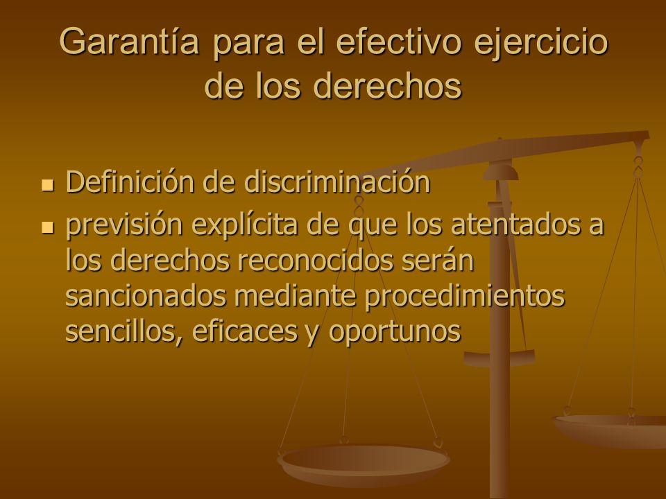 Garantía para el efectivo ejercicio de los derechos