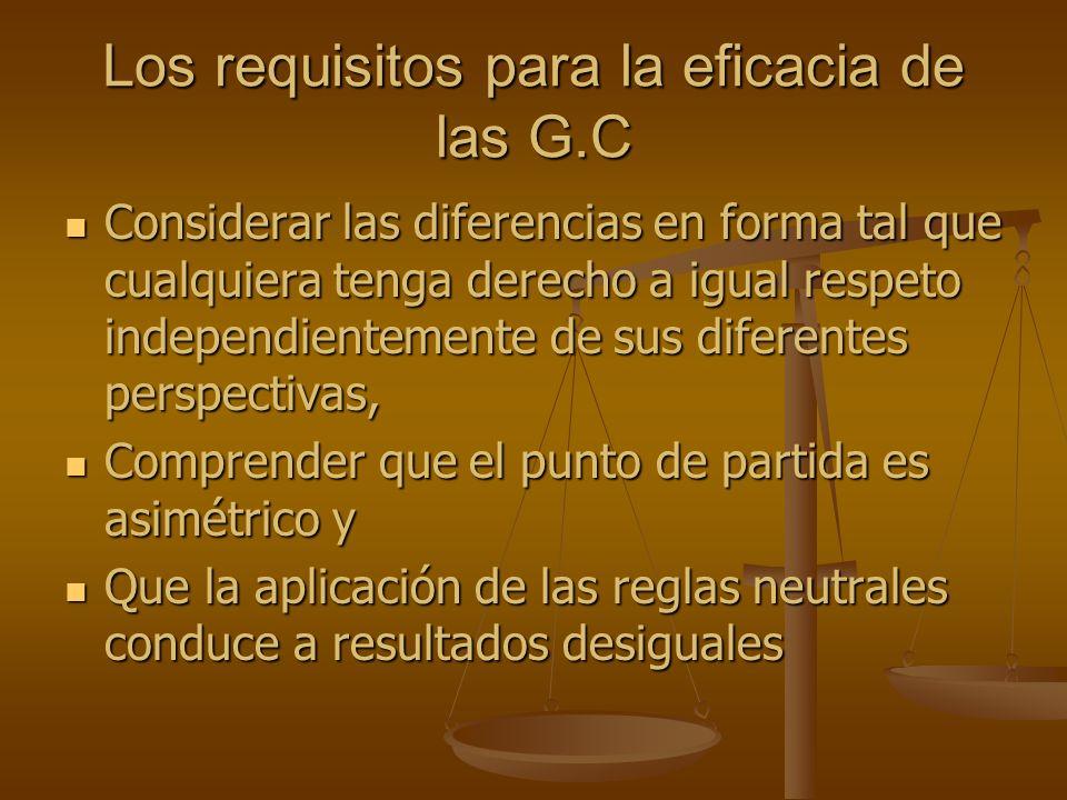 Los requisitos para la eficacia de las G.C