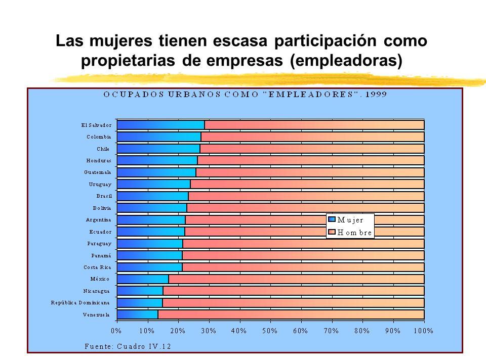 Las mujeres tienen escasa participación como propietarias de empresas (empleadoras)