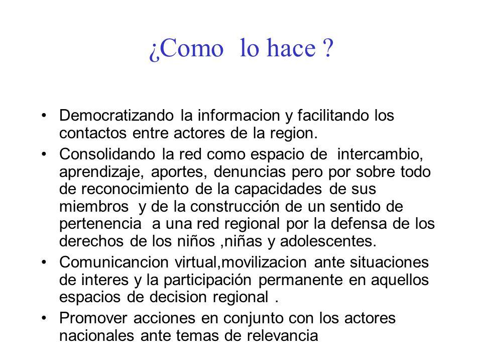 ¿Como lo hace Democratizando la informacion y facilitando los contactos entre actores de la region.