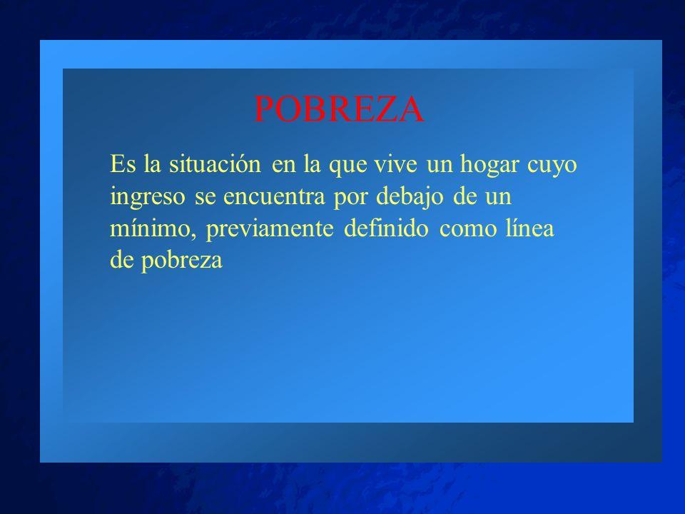 POBREZA Es la situación en la que vive un hogar cuyo ingreso se encuentra por debajo de un mínimo, previamente definido como línea de pobreza.