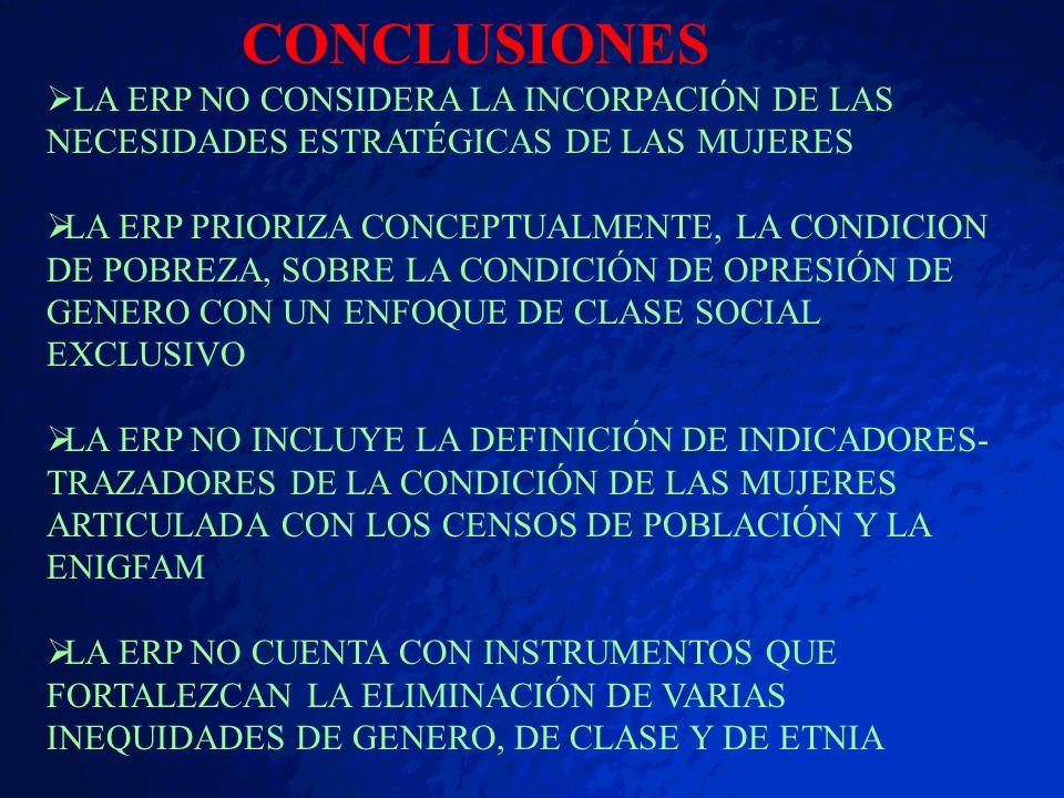 CONCLUSIONES LA ERP NO CONSIDERA LA INCORPACIÓN DE LAS NECESIDADES ESTRATÉGICAS DE LAS MUJERES.