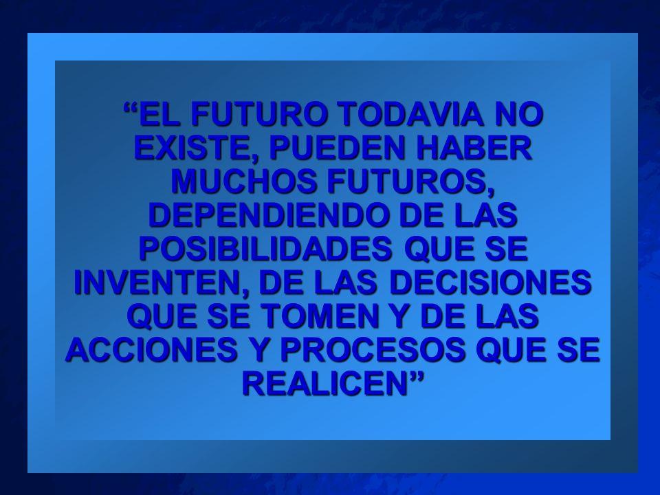 EL FUTURO TODAVIA NO EXISTE, PUEDEN HABER MUCHOS FUTUROS, DEPENDIENDO DE LAS POSIBILIDADES QUE SE INVENTEN, DE LAS DECISIONES QUE SE TOMEN Y DE LAS ACCIONES Y PROCESOS QUE SE REALICEN