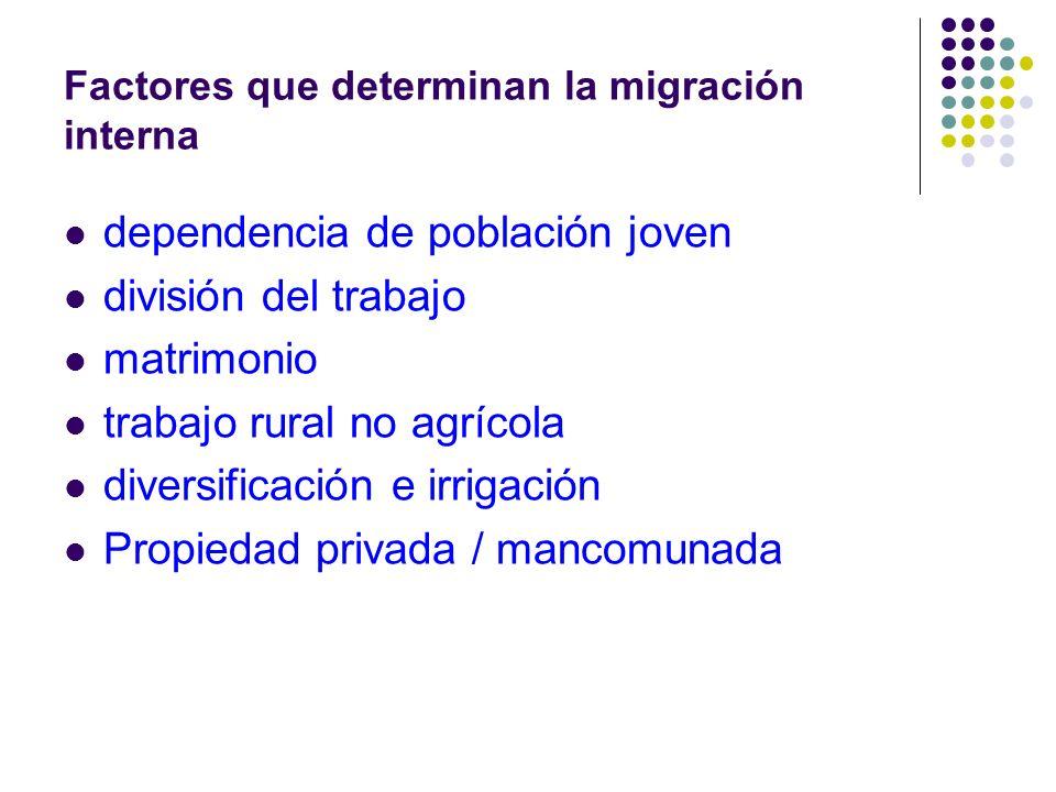 Factores que determinan la migración interna