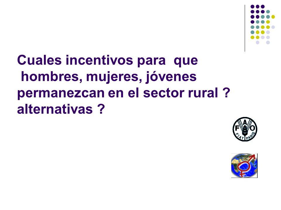 Cuales incentivos para que hombres, mujeres, jóvenes permanezcan en el sector rural alternativas