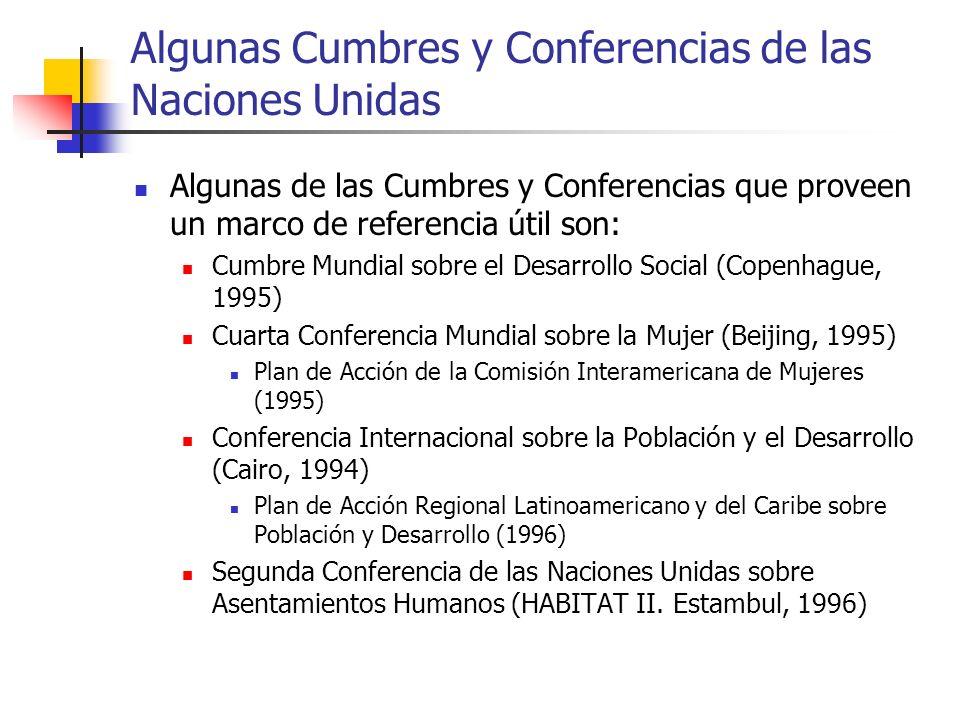 Algunas Cumbres y Conferencias de las Naciones Unidas
