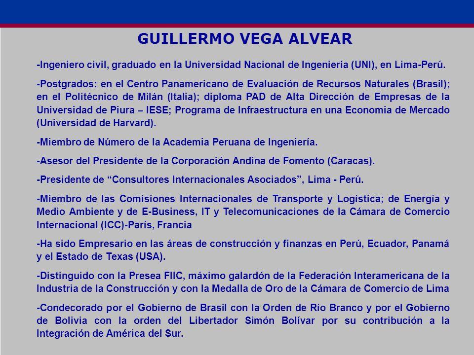 GUILLERMO VEGA ALVEAR -Ingeniero civil, graduado en la Universidad Nacional de Ingeniería (UNI), en Lima-Perú.