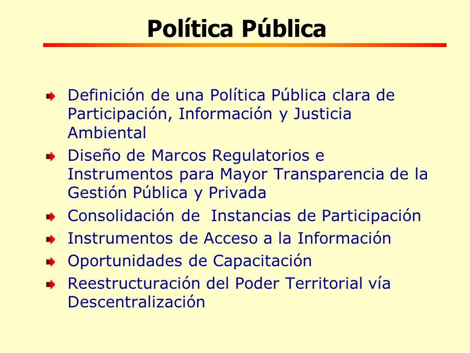Política Pública Definición de una Política Pública clara de Participación, Información y Justicia Ambiental.