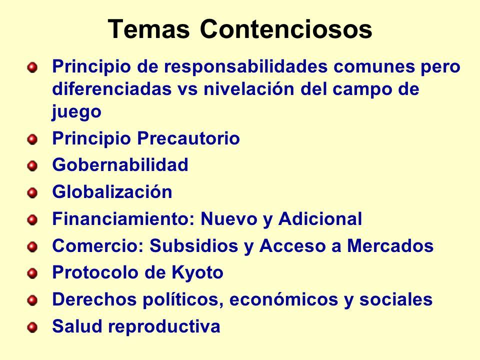 Temas Contenciosos Principio de responsabilidades comunes pero diferenciadas vs nivelación del campo de juego.