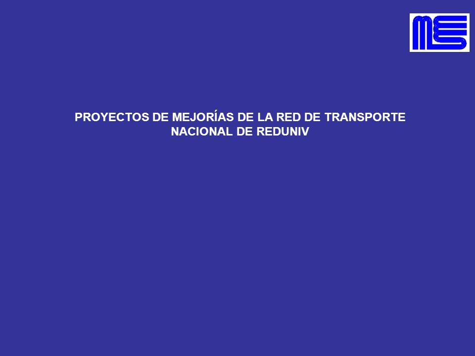 PROYECTOS DE MEJORÍAS DE LA RED DE TRANSPORTE