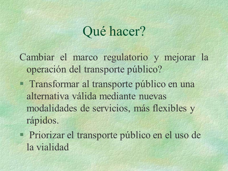 Qué hacer Cambiar el marco regulatorio y mejorar la operación del transporte público