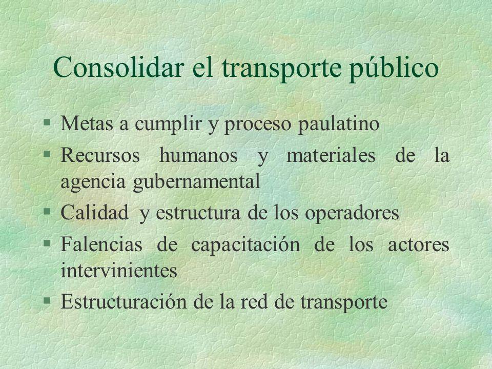Consolidar el transporte público