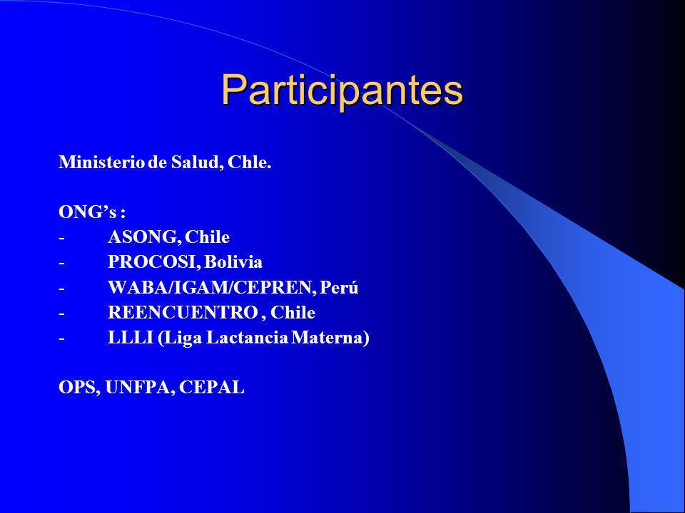 Participantes Ministerio de Salud, Chle. ONG's : - ASONG, Chile