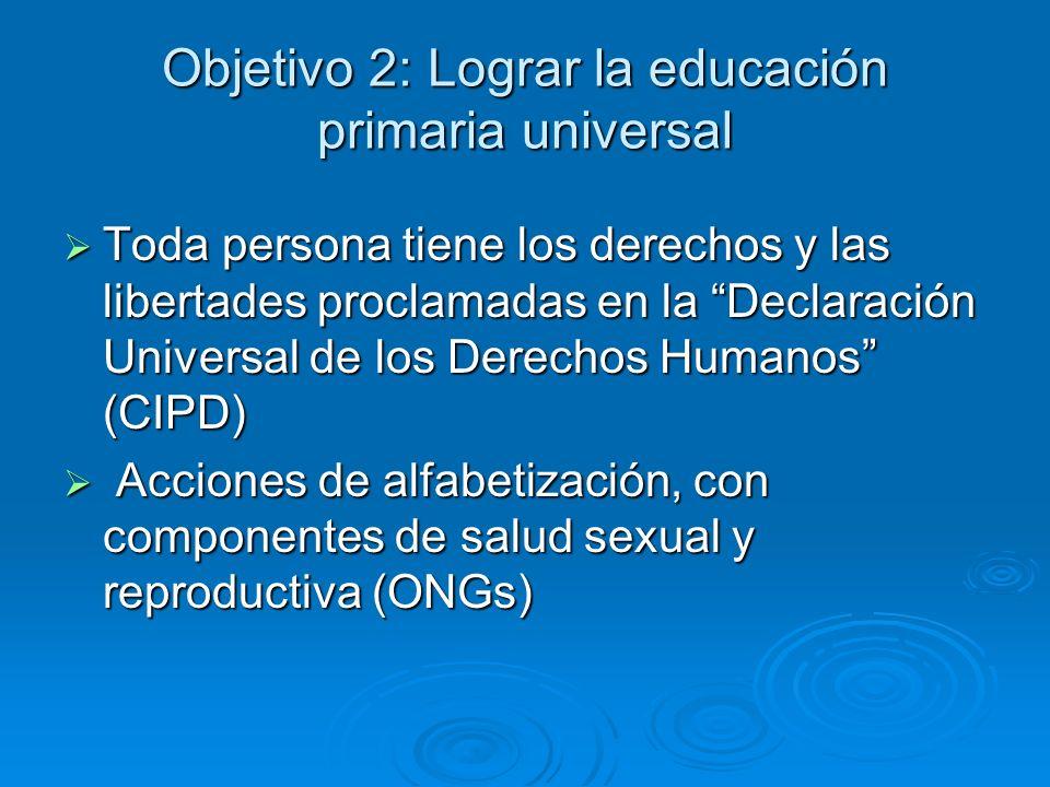 Objetivo 2: Lograr la educación primaria universal