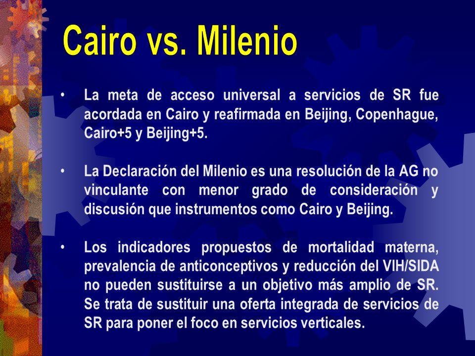 Cairo vs. Milenio La meta de acceso universal a servicios de SR fue acordada en Cairo y reafirmada en Beijing, Copenhague, Cairo+5 y Beijing+5.