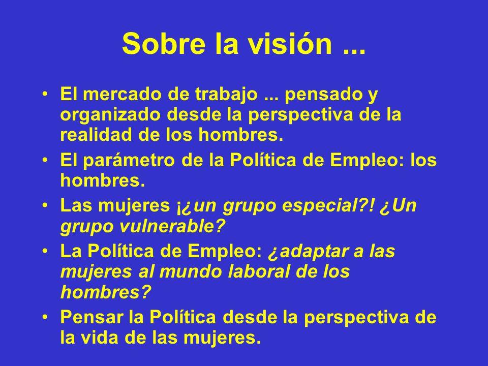 Sobre la visión ... El mercado de trabajo ... pensado y organizado desde la perspectiva de la realidad de los hombres.