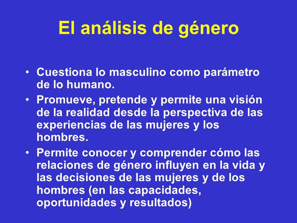 El análisis de género Cuestiona lo masculino como parámetro de lo humano.