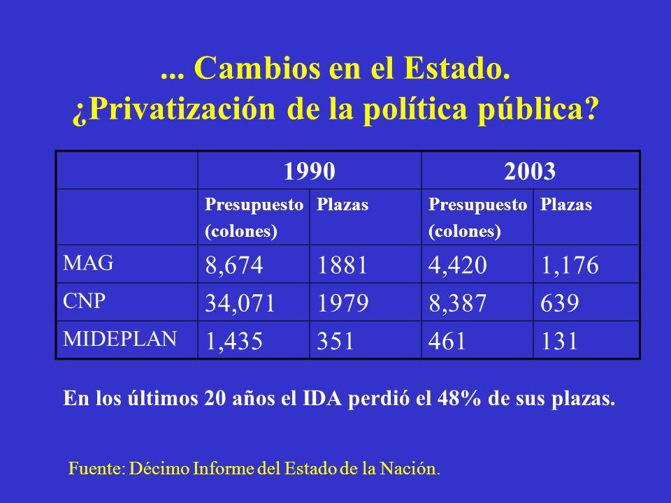 ... Cambios en el Estado. ¿Privatización de la política pública