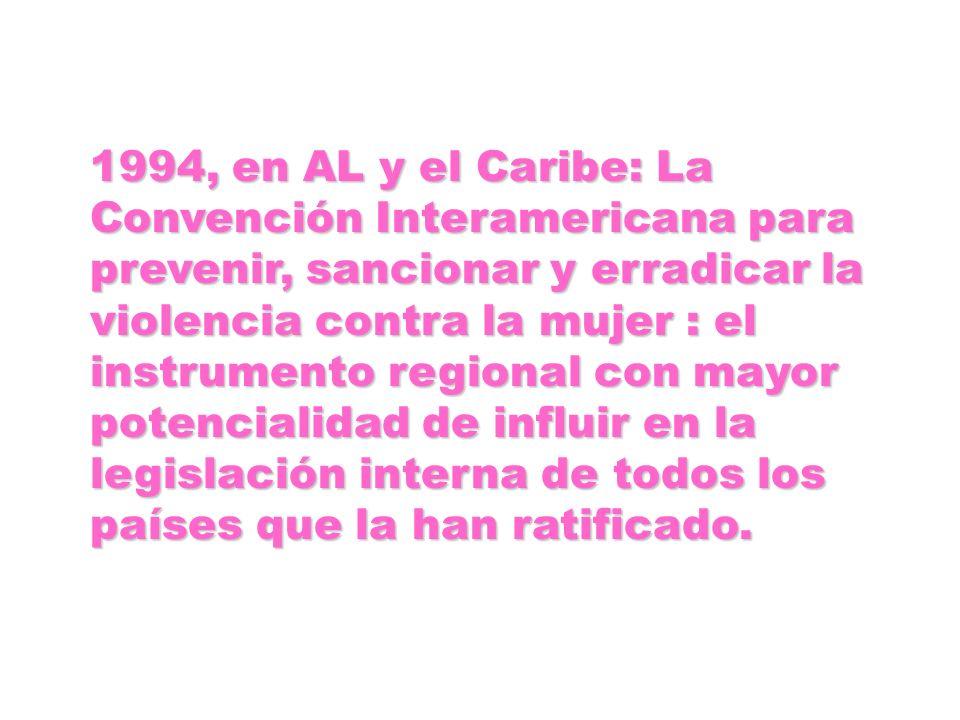 1994, en AL y el Caribe: La Convención Interamericana para prevenir, sancionar y erradicar la violencia contra la mujer : el instrumento regional con mayor potencialidad de influir en la legislación interna de todos los países que la han ratificado.