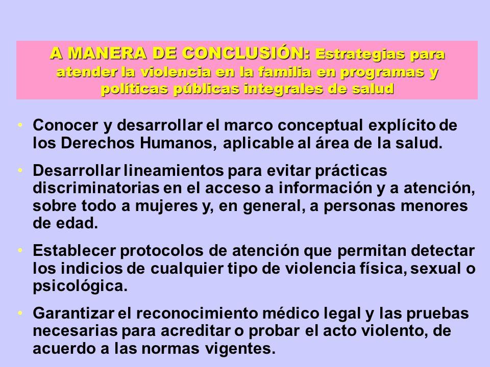 A MANERA DE CONCLUSIÓN: Estrategias para atender la violencia en la familia en programas y políticas públicas integrales de salud