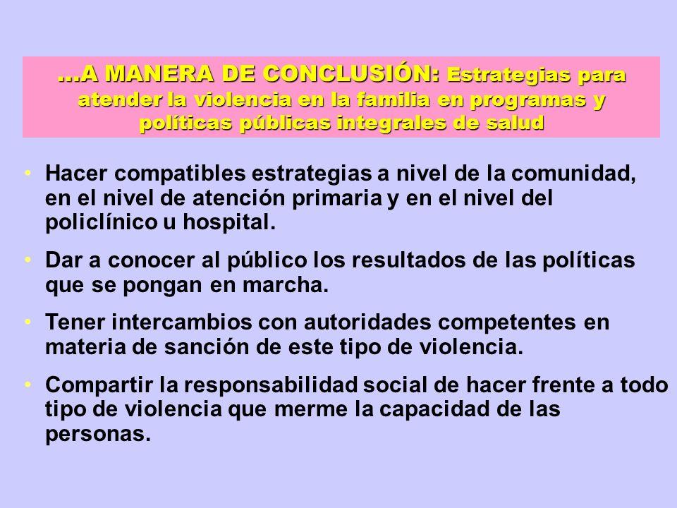...A MANERA DE CONCLUSIÓN: Estrategias para atender la violencia en la familia en programas y políticas públicas integrales de salud