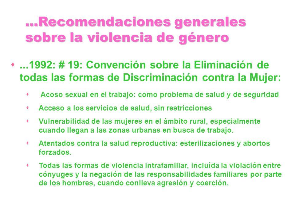 ...Recomendaciones generales sobre la violencia de género