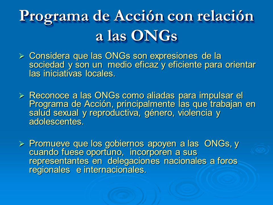 Programa de Acción con relación a las ONGs