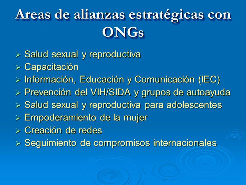 Areas de alianzas estratégicas con ONGs