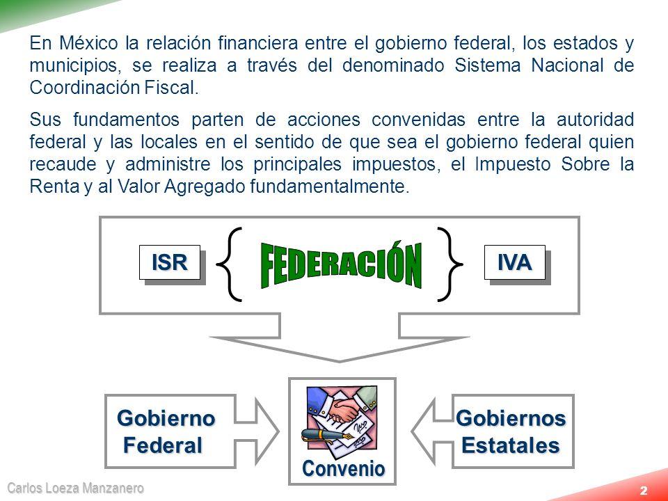 FEDERACIÓN ISR IVA Gobierno Federal Gobiernos Estatales Convenio