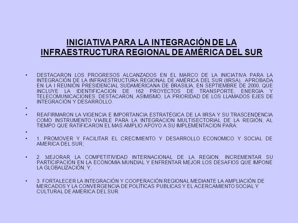 INICIATIVA PARA LA INTEGRACIÓN DE LA INFRAESTRUCTURA REGIONAL DE AMÉRICA DEL SUR