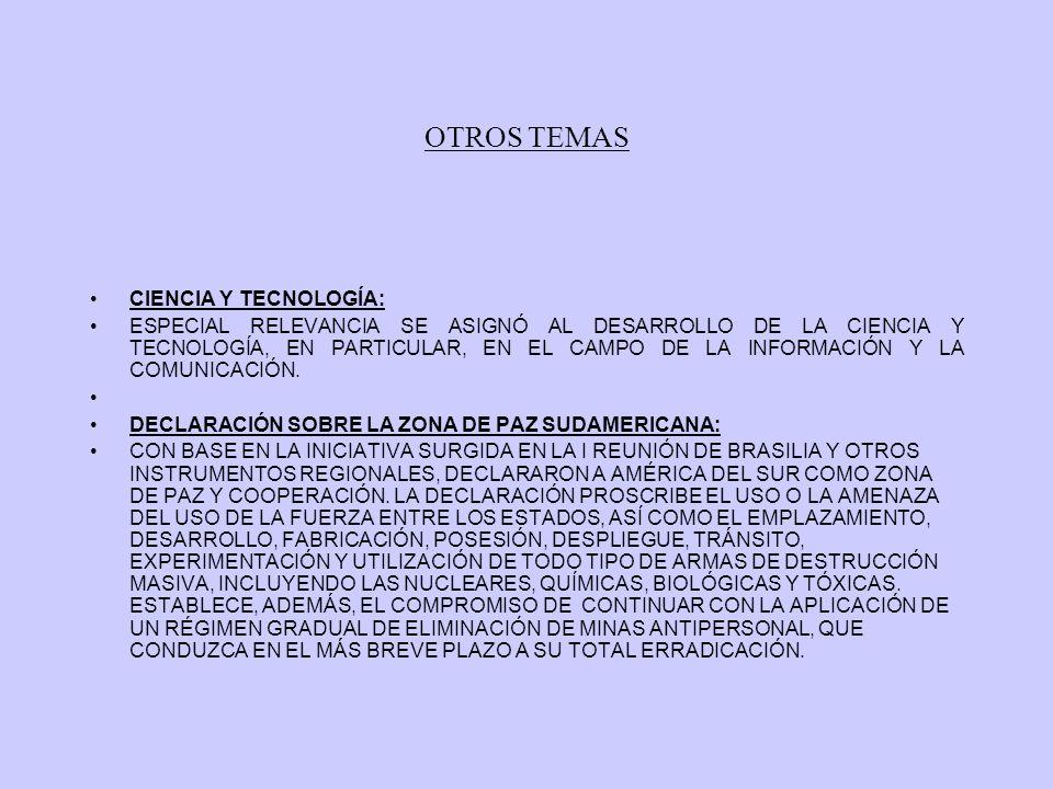 OTROS TEMAS CIENCIA Y TECNOLOGÍA: