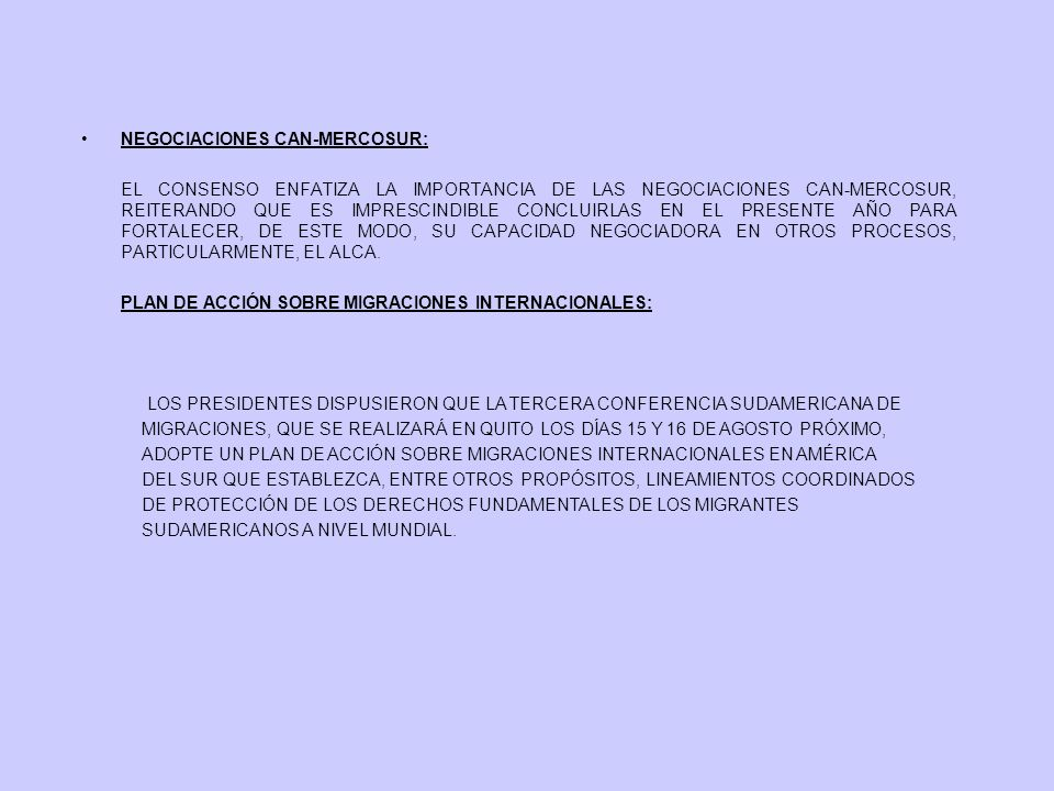 NEGOCIACIONES CAN-MERCOSUR: