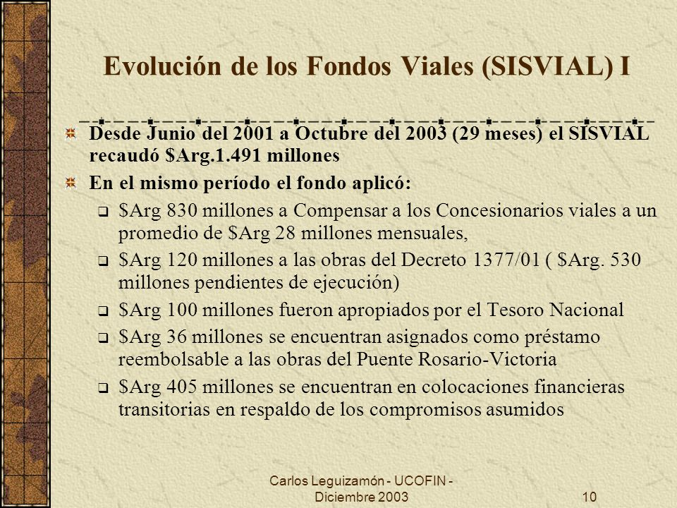 Evolución de los Fondos Viales (SISVIAL) I