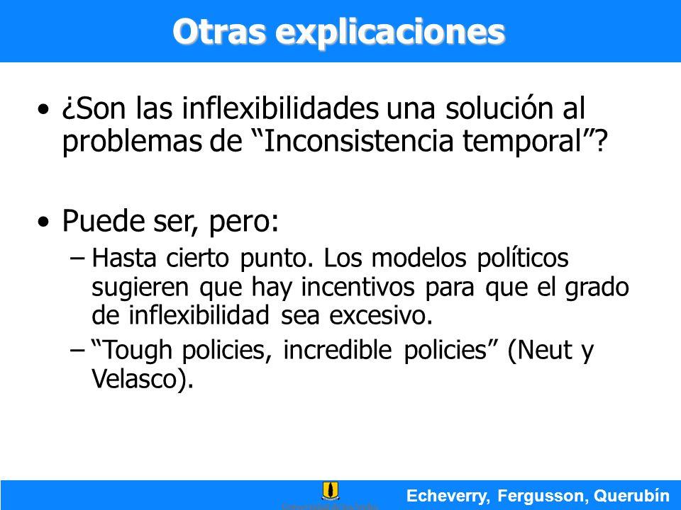 Otras explicaciones ¿Son las inflexibilidades una solución al problemas de Inconsistencia temporal