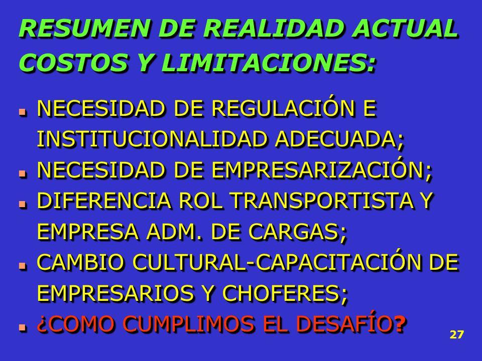 RESUMEN DE REALIDAD ACTUAL COSTOS Y LIMITACIONES: