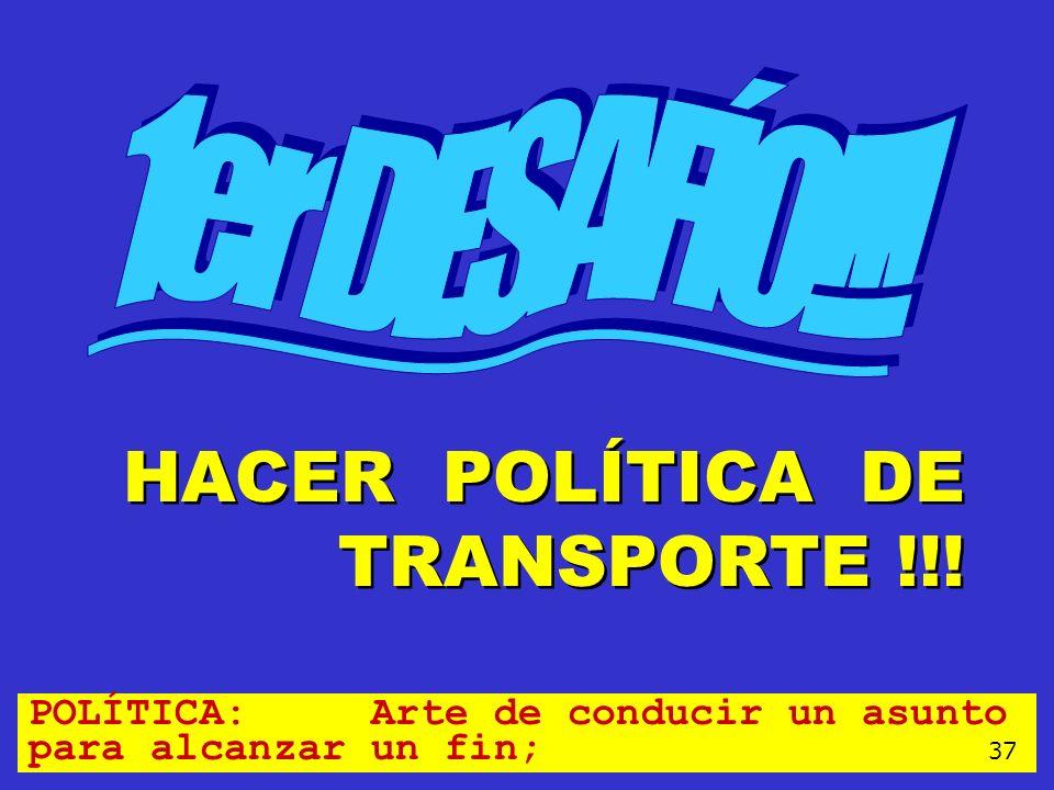 HACER POLÍTICA DE TRANSPORTE !!!