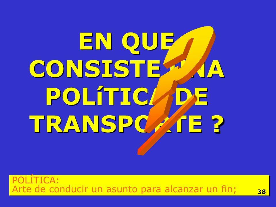 EN QUE CONSISTE UNA POLíTICA DE TRANSPORTE