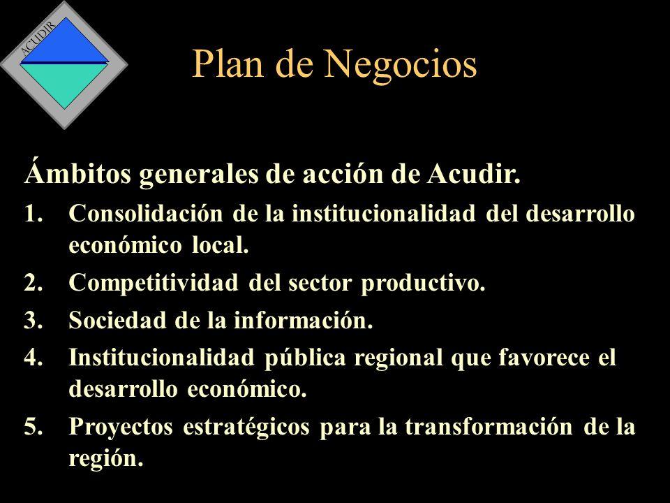 Plan de Negocios Ámbitos generales de acción de Acudir.